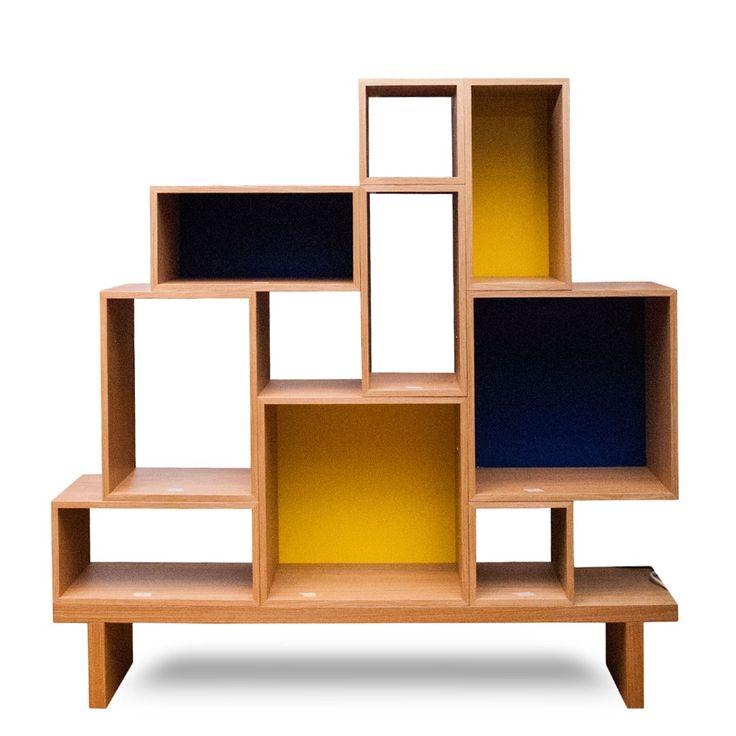 NEW Modern Cubic Solid Oak Bookcase  at DecorNYC