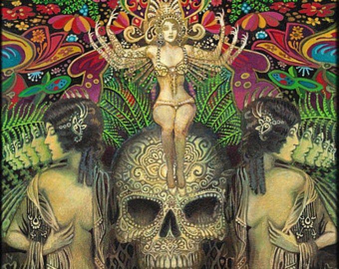 La Diosa Estrella De La Esperanza Tarot Mitológico Arte Aceo Etsy Psychedelic Art Goddess Art Visionary Art