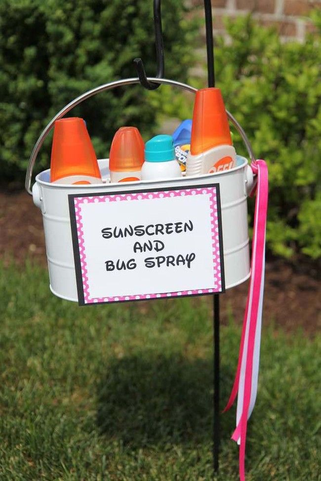 A sunscreen and bug spray station will keep everyone protected from summer's pests.