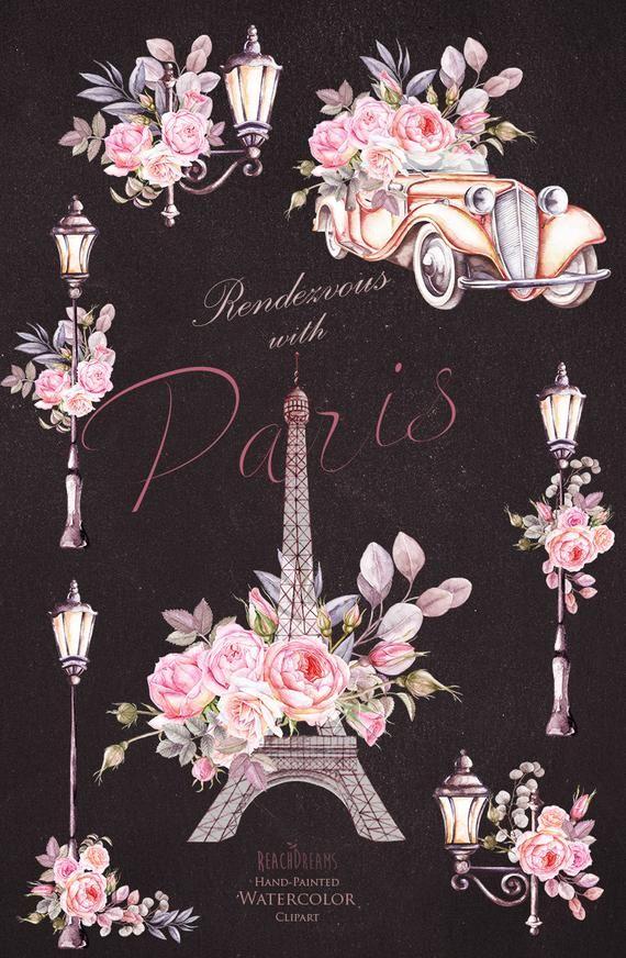 Paris Watercolor Clipart France Eiffel Tower France Roses Etsy Iphone Wallpaper Watercolor Clipart Paris Wallpaper
