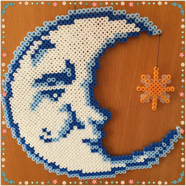 Moon and star hama beads by gittejulie
