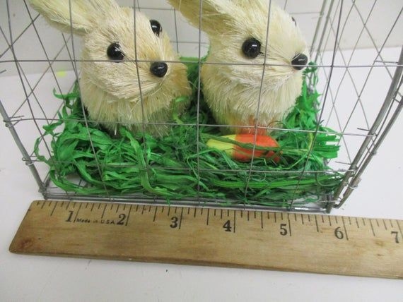 Easter Decor Sisal Bunny Rabbit Pair in Wire Cage Grass Carrot – white