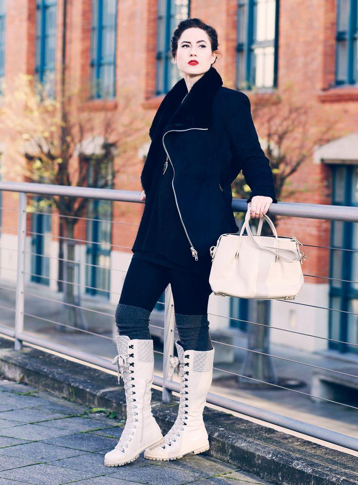 schicke Wanderstiefel, tragbare Wanderschuhe,  weiße Winterstiefel, cremefarbene Boots, Attilio Giusti Leombruni, Mode Blog, Fashion Blog, Like A Riot, Winter Style, Winter Look
