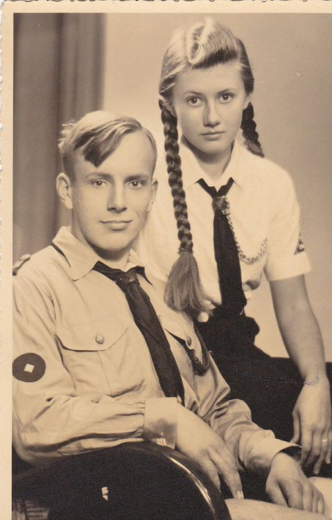 "Nazi Germany: Brother and Sister. Members of ""Bund Deutscher Mädchen"" and ""Hitlerjugend"". Attendance was compulsory."