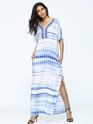 Casual Tie-dyed Split Patchwork Short Sleeve V-neck Women Maxi Dress