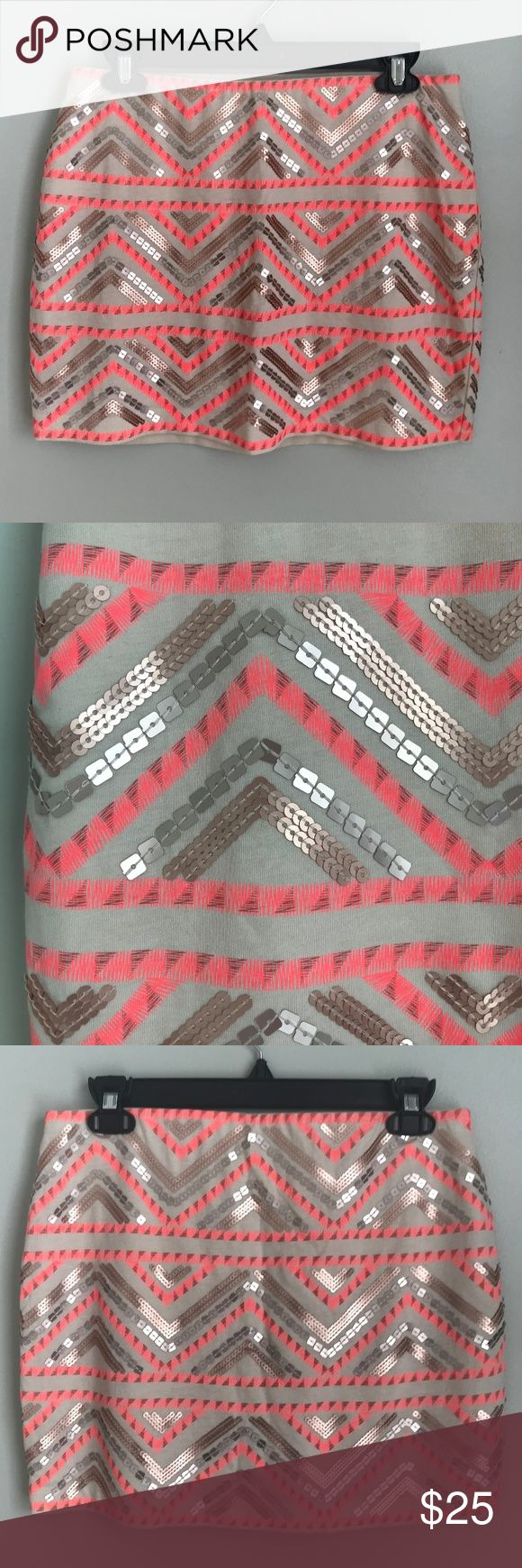 """Express Factory Ivory Pink Chevron Sequin Skirt Express Factory Ivory Pink Sequin Stretch Mini Skirt Aztec Chevron NWT Size Small  waist measures 29""""  length measures 14""""  (Inventory Bin DD - C) Express Skirts Mini"""