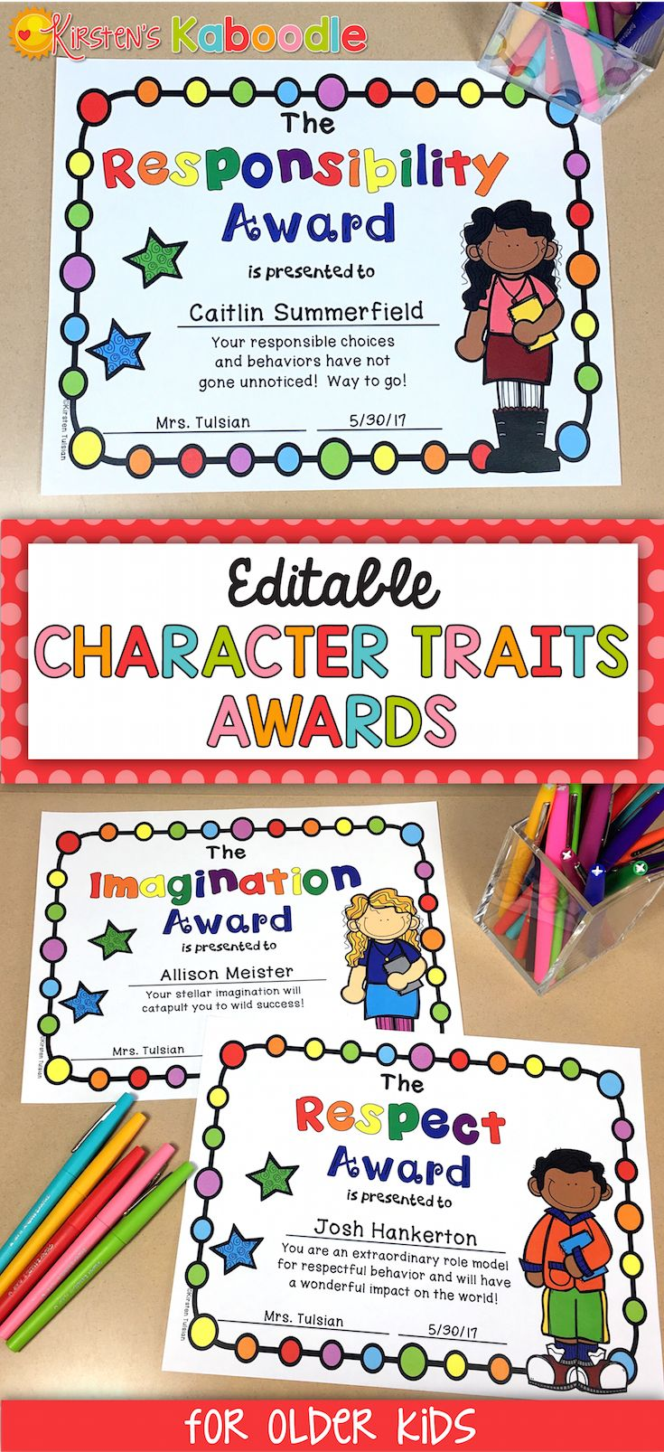 Are you looking for unique, editable awards for your students? These character traits awards are perfect for any 3rd, 4th, 5th, or 6th grade classroom. The best part about these end of year awards is that they celebrate inherent traits in your students instead of focusing on abilities or skills. Each award comes in various versions (black and white, color, gender, and ethnicity) with editable fields for names and date. Go ahead, help your students feel proud of WHO THEY ARE and not what they…