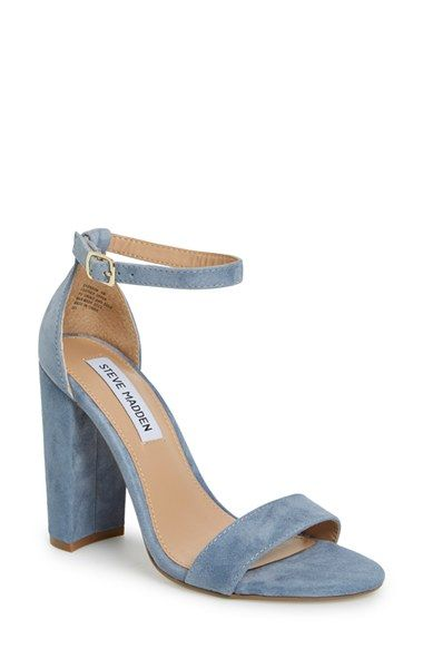 Steve Madden 'Carrson' Sandal (Women) at Nordstrom.com. A minimalist ankle-strap sandal set on a chunky heel is cast in lush suede.