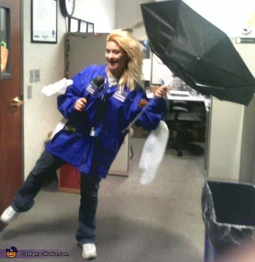 Weather Channel Reporter in a Storm - 2014 Halloween Costume Contest via @costume_works