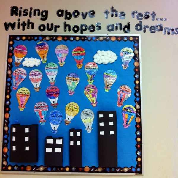 "Illustrated with hot air balloons over a cityscape. Change to sunglasses for ""looking ahead to our BRIGHT future""?"