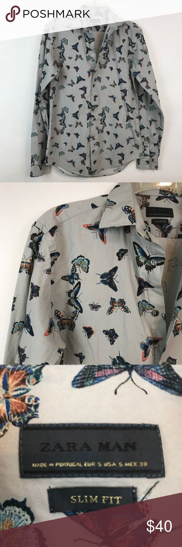 "ZARA MAN | Slim Fit Butterfly Button Down B36 Condition: Excellent pre owned condition Measurements (laying flat): 19.5"" pit to pit 29"" length  Item location: bin 36 Zara Shirts Casual Button Down Shirts"