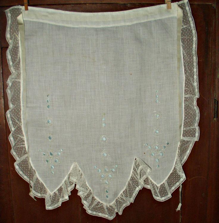 The Gatherings Antique Vintage - Vintage 1920's Art Deco Embroidery Lace Trim Tea Serving Apron Ribbon Ties, $18.50 (http://store.the-gatherings-antique-vintage.net/vintage-1920s-art-deco-embroidery-lace-trim-tea-serving-apron-ribbon-ties/)