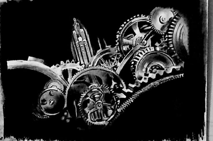 MECHANICAL GEARS charcoal sketch by Swanand Bhagat
