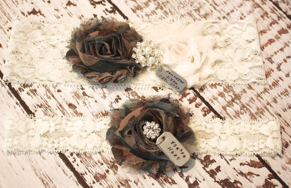 Camo Garters With Personalized Dog Tags Wedding Garter Set on Etsy, $35.00
