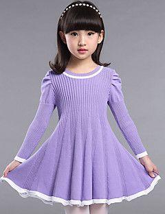 Dívka je Běžné/Denní Jednobarevné Podzim Šaty Umělá kožešina Modrá / Růžová…