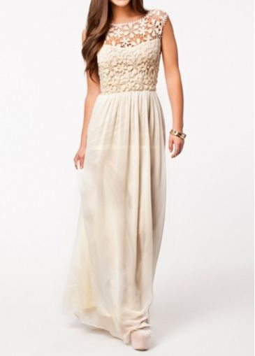 Exquisite Round Neck Sleeveless High Waist Dress Beige on sale only US$11.47 now, buy cheap Exquisite Round Neck Sleeveless High Waist Dress Beige at martofchina.com