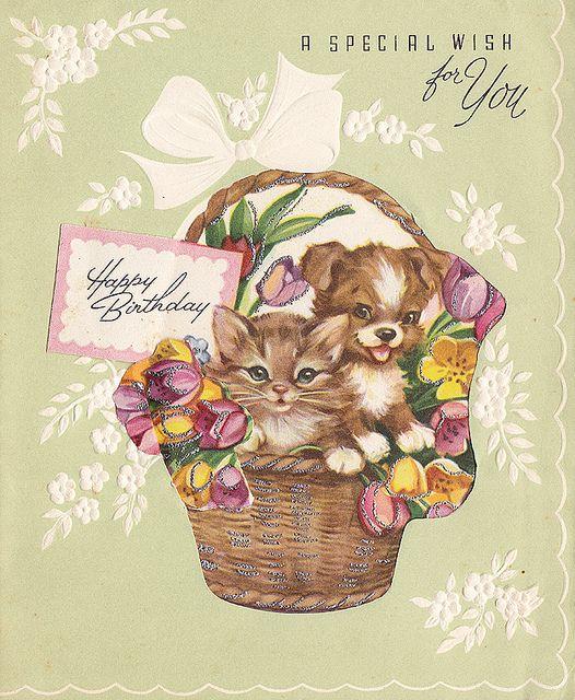Awww, what a splendidly cute vintage birthday card! #cats #dogs #animals #cute #vintage #birthday #card