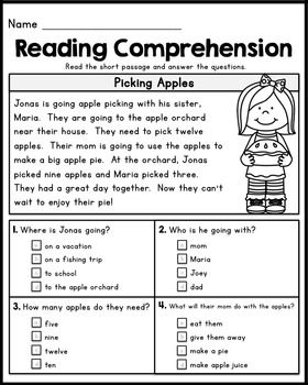 FREE First Grade Reading Comprehension Passages - Set 1                                                                                                                                                                                 More