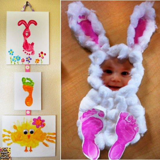 """<input class=""""jpibfi"""" type=""""hidden"""" >OMG ! These little bunnies are so cute ! They are incredibly simple but turn out neat and adorable . All you need are just cotton balls, footprints and a photo. For making these personal Easter bunnies, first print a photo, then make 4 kids footprints and Cut out a big oval (the belly) .…"""