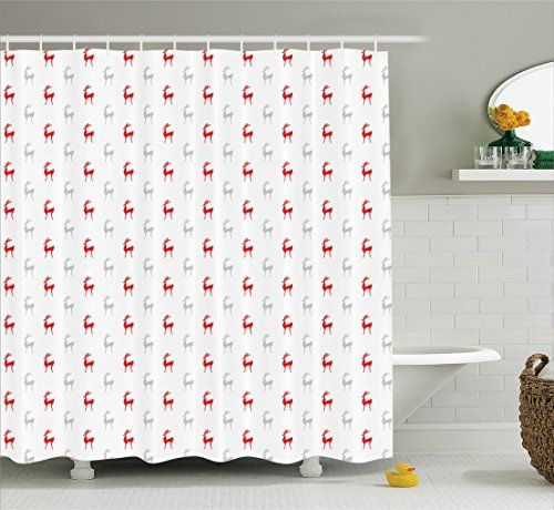 Ambesonne Deer Decor Collection Cartoon Deer and Reindeer Xmas Happy Seasonal Celebration Animal Pattern Polyester Fabric Bathroom Shower Curtain 84 Inches Extra Long Coral Grey *** Click image to review more details.