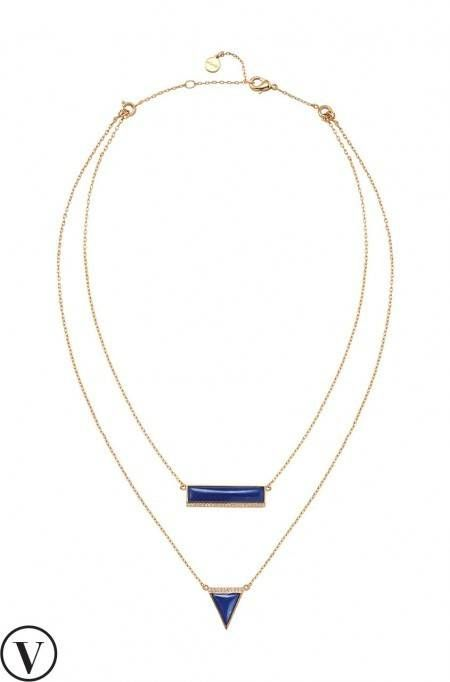 Crystal & Lapis Stone Element Necklace in Gold