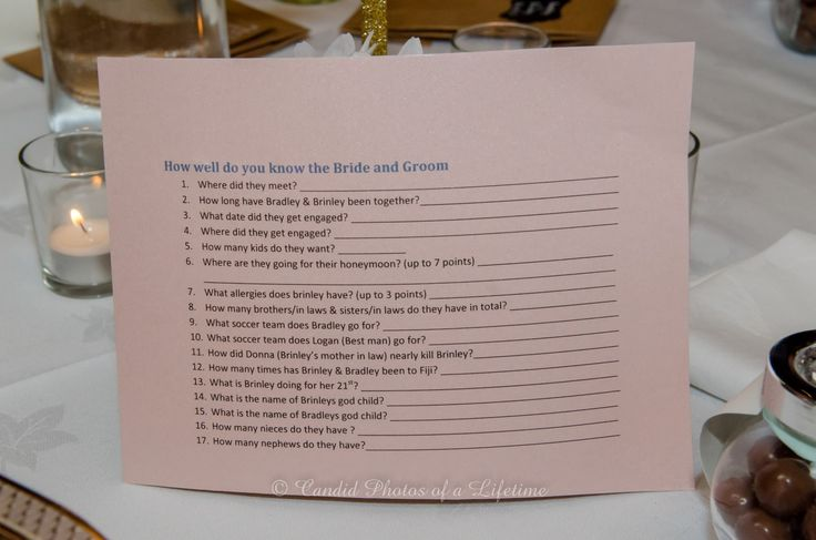 """Wedding photographer, Candid Photos of a Lifetime  A bit of fun at the reception...  """"How well do you know the Bride & Groom"""""""