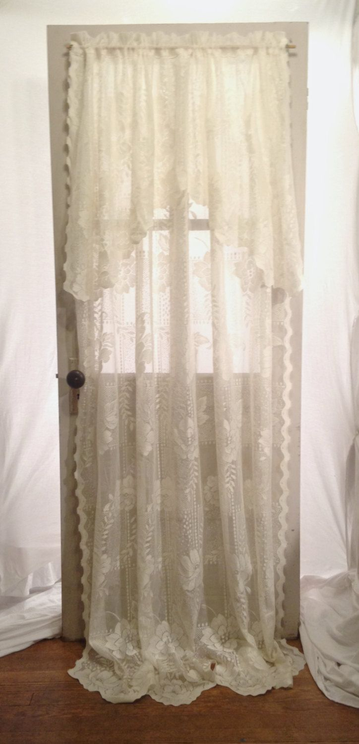 Olive green window panel in curtains amp drapes compare prices - Ivory Cream White Lace Curtain 54 X 82 Long Drape Built In Valance Victorian Country Chic Polyester Window Treatment Yesteryears