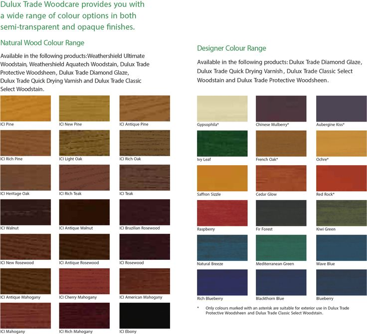 Dulux Trade Woodcare Translucent Colour Chart Dulux