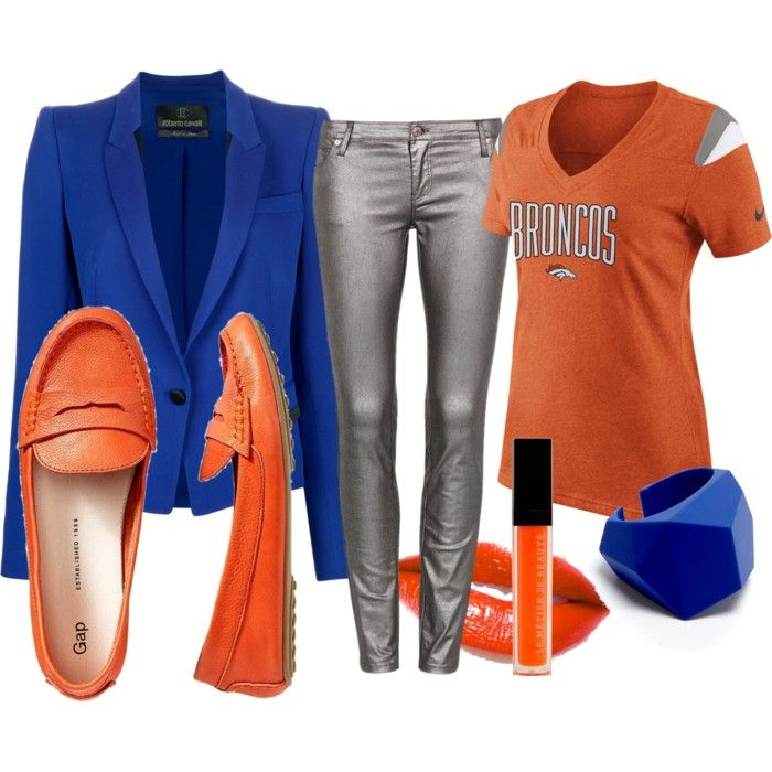 Super Bowl Outfits for the Denver Broncos orange and blue, what to wear to the Super Bowl party