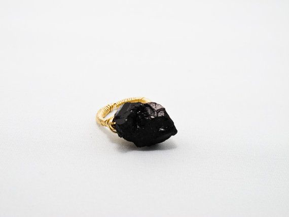 Black+Tourmaline+Cocktail+Ring+by+SocialExperiment+on+Etsy,+$28.00
