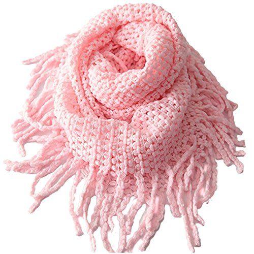 5cf16435039 Tusong Winter Warmer Unisex Baby Kids Toddler Knit Tassels Shawl Scarf Pink
