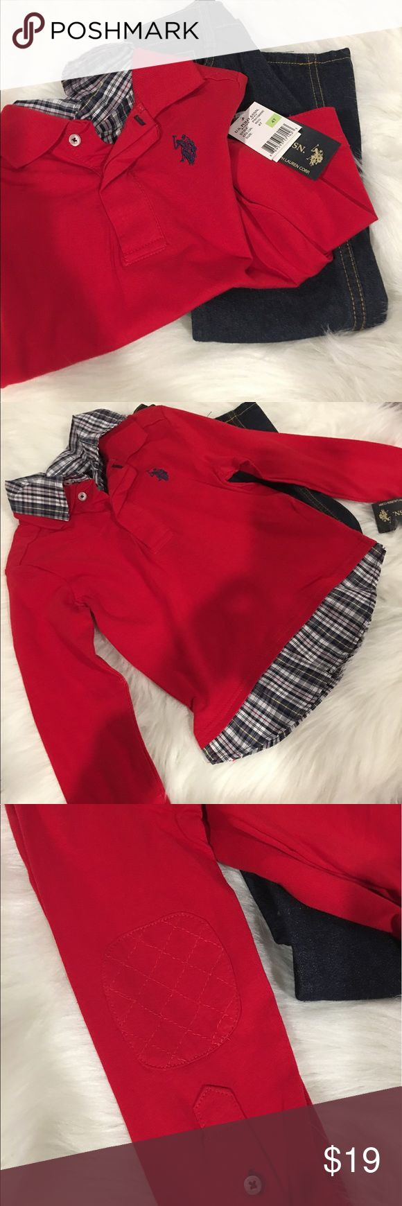 Toddler Boys Blue Jean Outfit Red Long sleeve Toddler Boy Red Long sleeve Blue Jean outfit...New w/tags...in perfect condition no stains, no tears...perfect Christmas Winter Outfit U.S. Polo Assn. Matching Sets