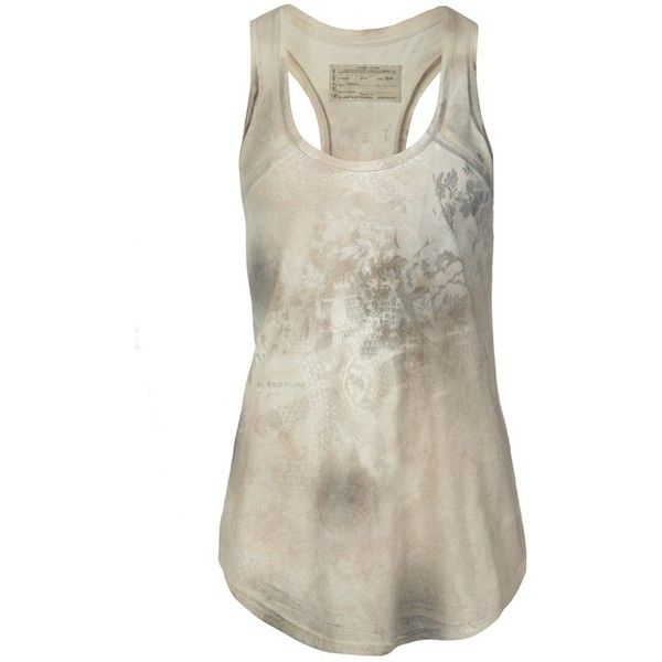 Stencil Vest (£26) ❤ liked on Polyvore featuring tops, shirts, tank tops, tanks, women, jersey tank top, cotton racerback tank, layering tanks, patterned shirts and racerback shirt