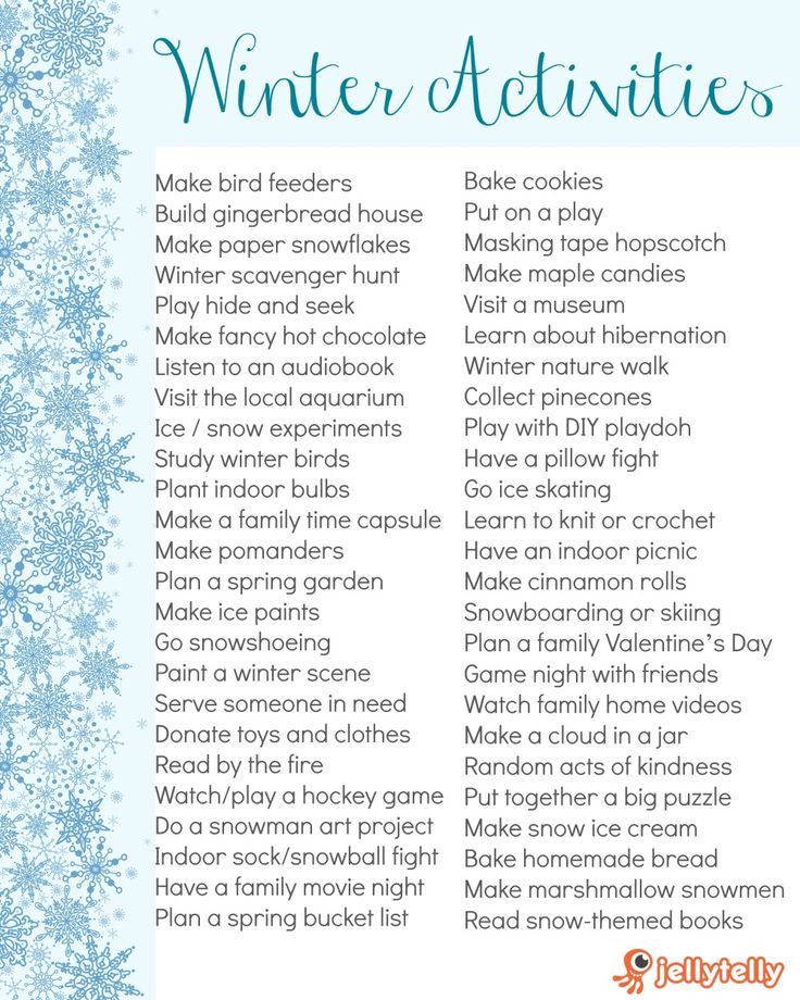 Enjoy the rest of winter as a family with these fun indoor and outdoor activity … – 2019 list of todos