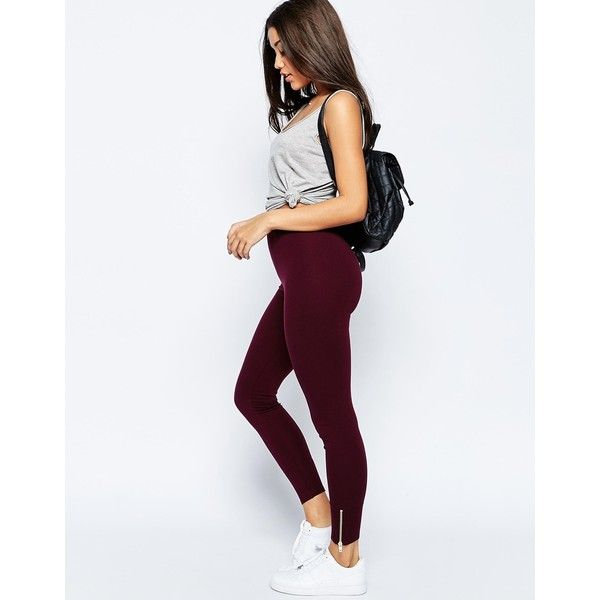 ASOS Leggings with Zip Hem ($31) ❤ liked on Polyvore featuring pants, leggings, red, zipper pants, legging pants, asos trousers, zip pants and zip leggings