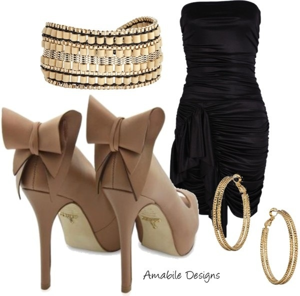 Little Black Dress With Nude Gold Accessories