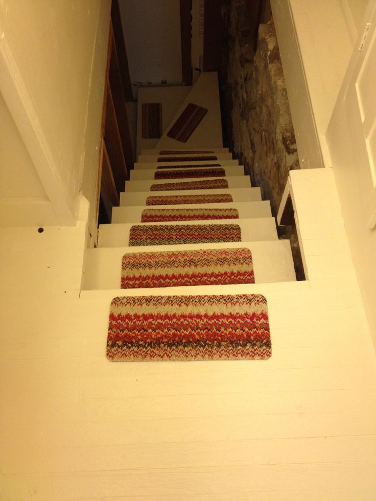 Brightened Up The Basement Stairs With White Paint And Stair Pads! Randomly  Found These Stair