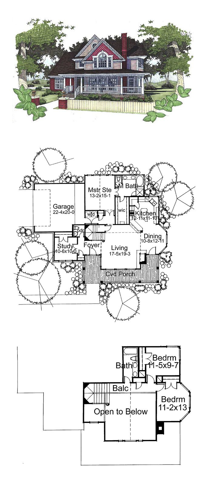 Victorian House Plan 65815 | Total Living Area: 1898 sq. ft., 3 bedrooms and 2.5 bathrooms. #victorianhome