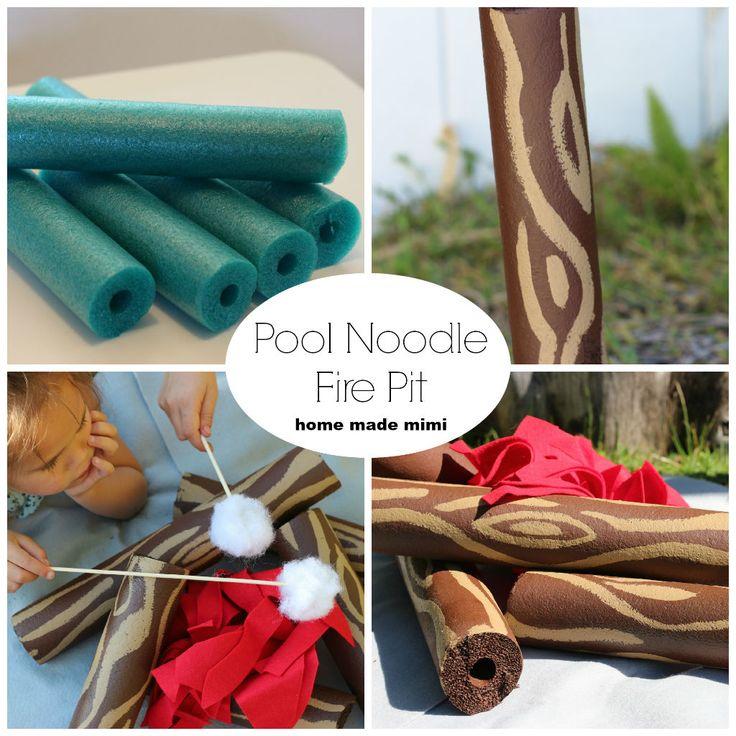 pool noodle fire pit, faux fire pit