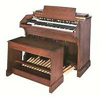 The Hammond organ is an electric organ, invented by Laurens Hammond and John M. Hanert and first manufactured in 1935... The organ was originally marketed and sold by the Hammond Organ Company to churches as a lower-cost alternative to the wind-driven pipe organ, or instead of a piano.