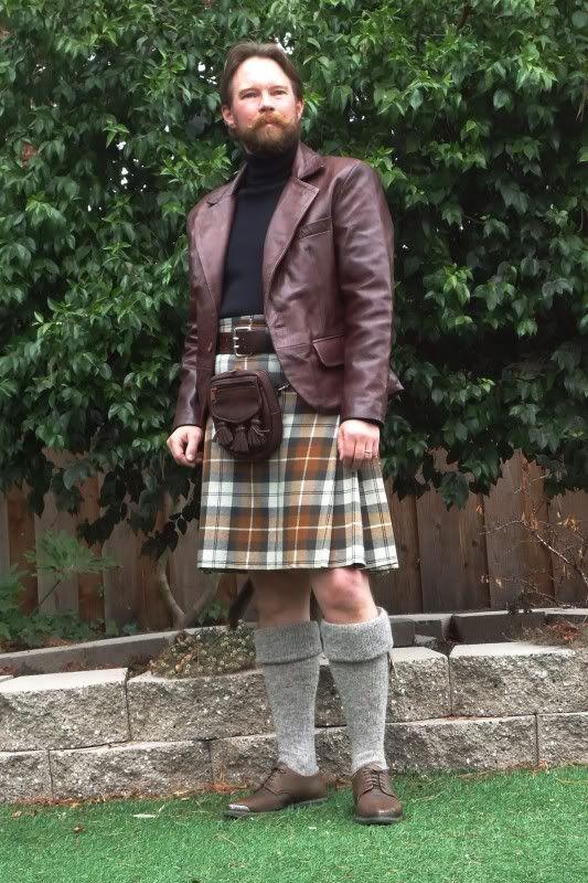 Stillwater leather kilt jacket and cargo sporran