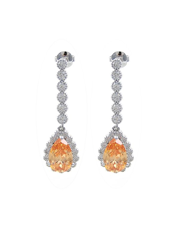 wholesale Citrine CZ tear-drop earrings for wedding or party