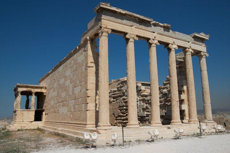 Filocle - Eretteo - da 421 a 406 a.C. - anfiprostilo ionico in marmo pentelico - Atene --- L'edificio era un tempo dedicato al culto della Dea Polias, la cui figura poi è stata assimilata dalla più ellenica dea Atena. I miti raccontano che qui avvenne la disputa tra Atena e Poseidone per la maternità della polis; inoltre qui sarebbero ubicate le tombe di Cecrope e Eretteo, nipote di Erittonio, accudito dalla figlia di Cecrope, Pandroso.