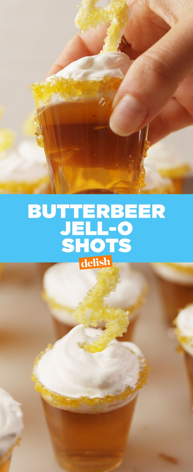 Harry Potter Butterbeer Jell-O Shots are only for true HP fans. Get the recipe at Delish.com.