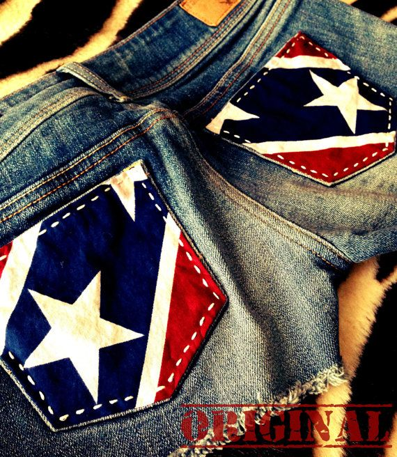 CUSTOM Upcycled Cowgirl Shorts Rebel Flag by CowgirlCouture76