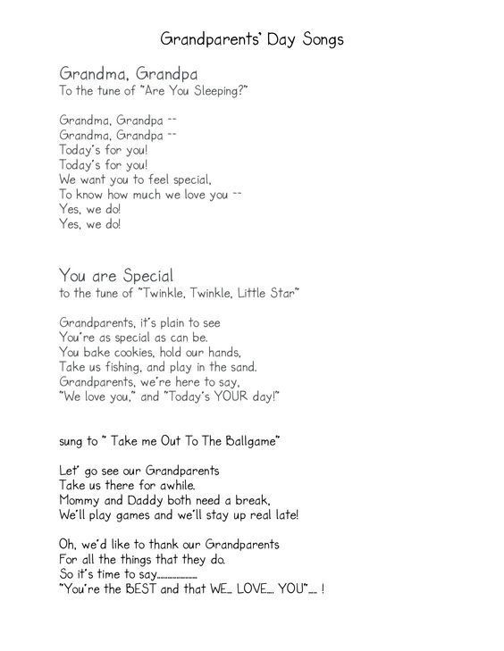 Grandparents Day songs:                                                       …