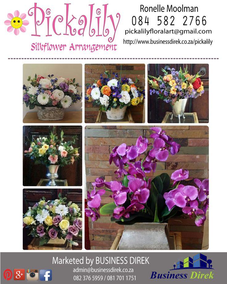 Silk flower Arrangements!!! Contact Ronelle Moolman on 084 582 2766 for more information pickalilyfloralart@gmail.com http://www.businessdirek.co.za/pickalily #silk #flowers