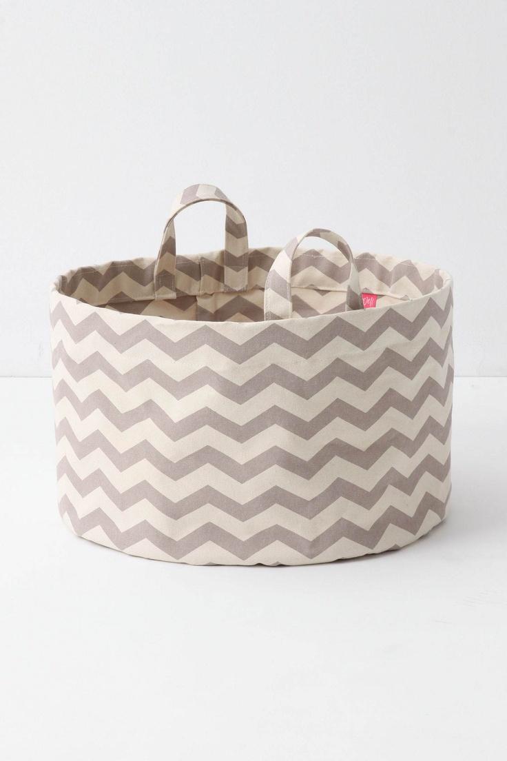 Chevron canvas laundry basket