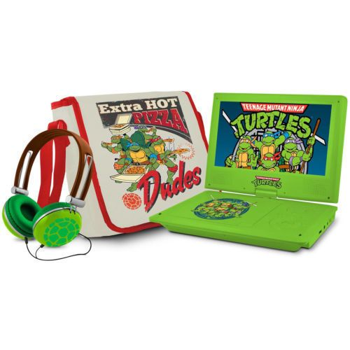 Kids Portable DVD Player 9 Inch Headphones Case Teenage Mutant Ninja Turtles CD #Ematic