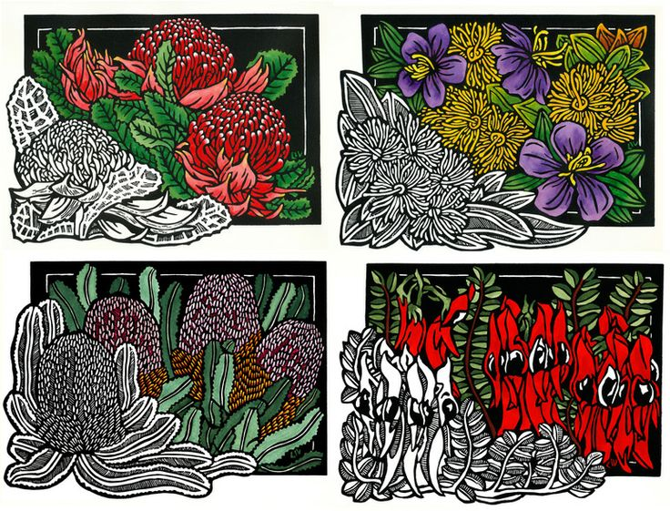 'Classic Wildflowers' set of 4  Also available as Quality Greeting Cards from http://lynetteweir.com/soulsong-cards-posters/australian-wildflowers-greeting-cards/ Limited Edition Handcoloured Linocut by Lynette Weir © copyright Lynette Weir